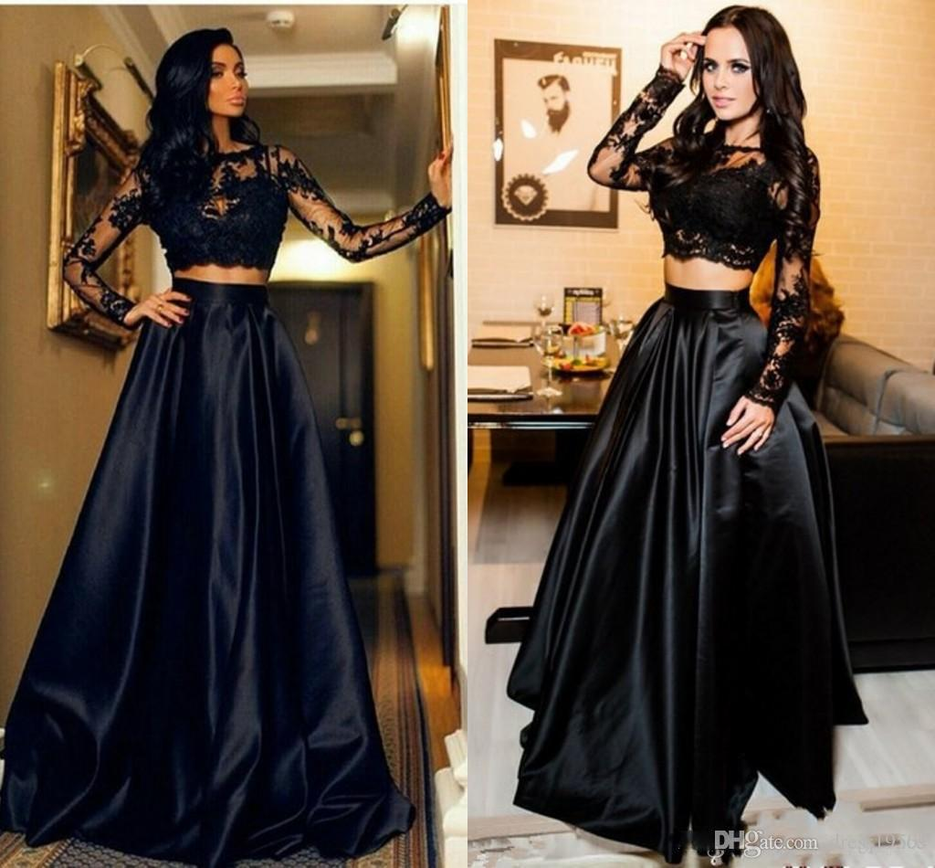 Compre 2018 Dos Piezas Vestidos De Baile Negro A Line Apliques Sexy Zipper Satén Vestidos De Noche Formales Vestidos De Fiesta De Baile Vestido De