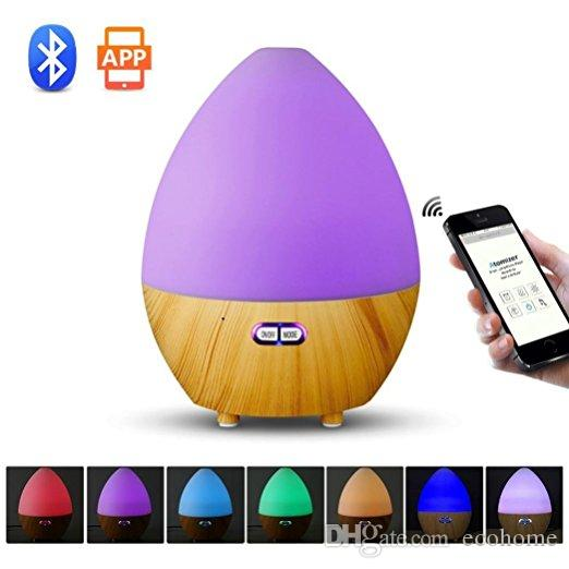 Ultrasonic Humidifier Bluetooth Speaker Aroma Essential Oil Diffuser with 7 Color LED Lamp Auto Shut-off Function App Control for Home Spa