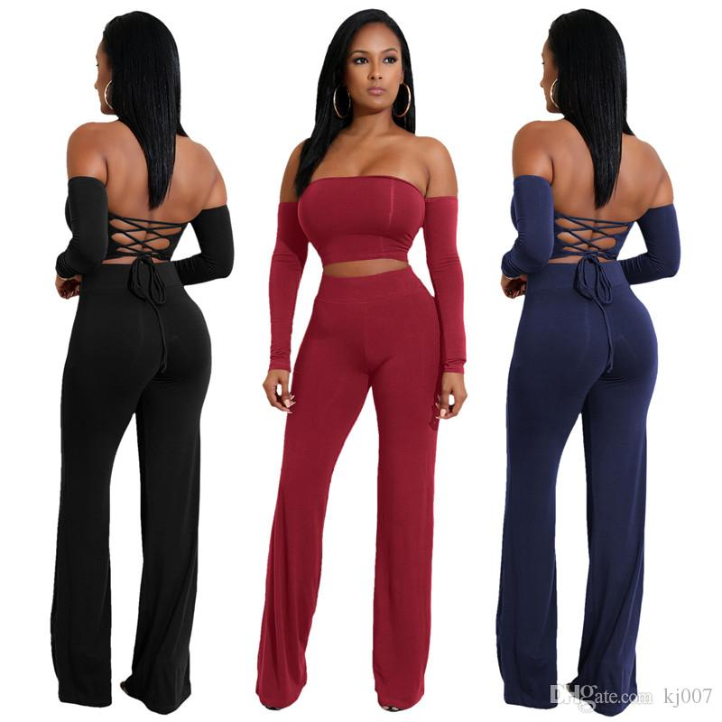 New Style Fashion Jumpsuits Long Sleeve Women Summer Shirt Sexy Tie Women's Two Piece Pants 6 Color Hot Sale Lady Clothing Bodycon Dresses