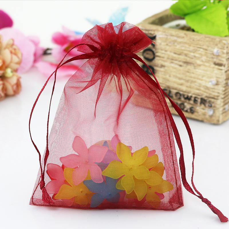 200pcs/lot Dark Red Organza Bag 35x50cm Wedding Boutique Gifts Packaging Bag Large Organza Gift Bags Pouches Party Supplies