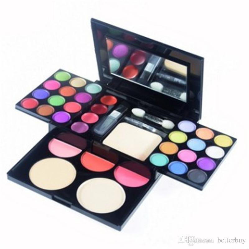Объявления макияж комплект тени для век палитра румяна блеск для губ пудра 4 в 1 с кистями набор косметики Лучшая цена