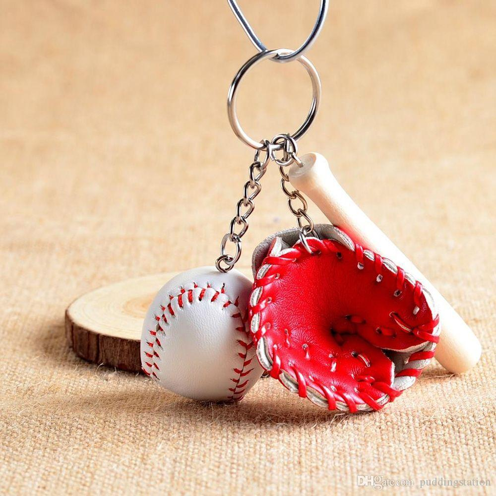 Mini Baseball Bat and Glove Ball Sports Fan Keychain Men Women Bags Car Key Ring Couples Lover Gift For Women Keychain Jewelry