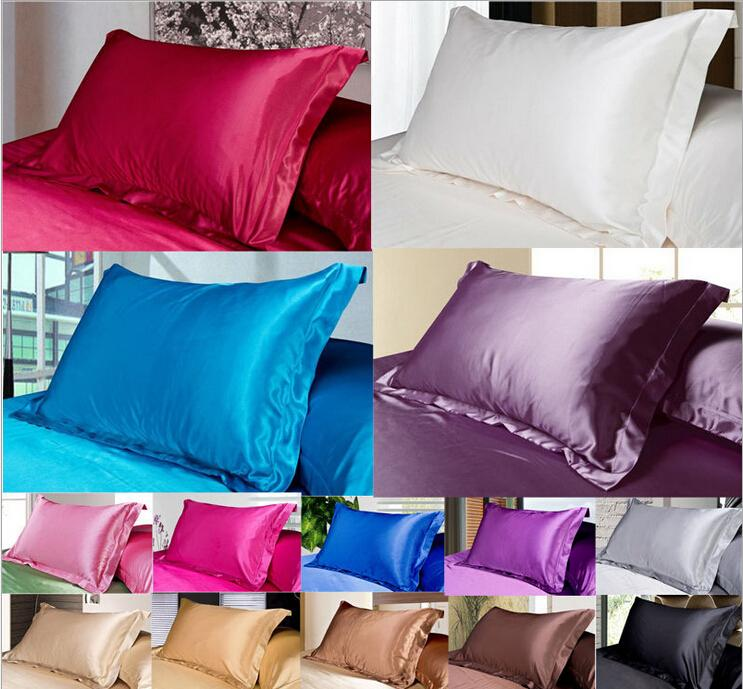 Color sólido Fundas de almohada de seda de doble cara Diseño de sobres Funda de almohada Charmeuse de alta calidad de seda satinado funda de almohada 50 * 76