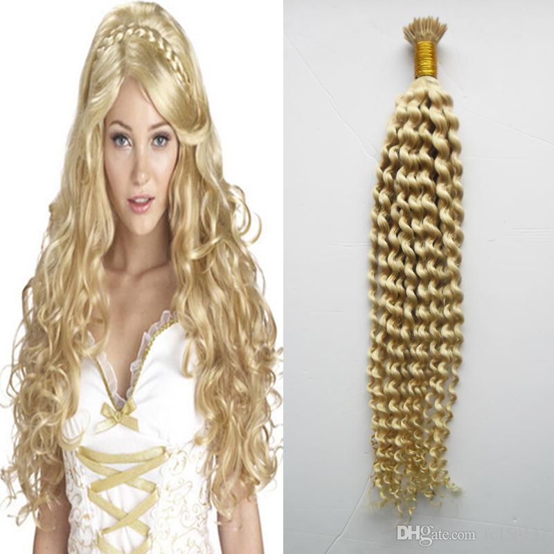 #613 Bleach Blonde Machine Made Remy Human Fusion Hair i Nail Tip Pred Bond Keratin Human Hair Extension Kinky Curly 1g/strand