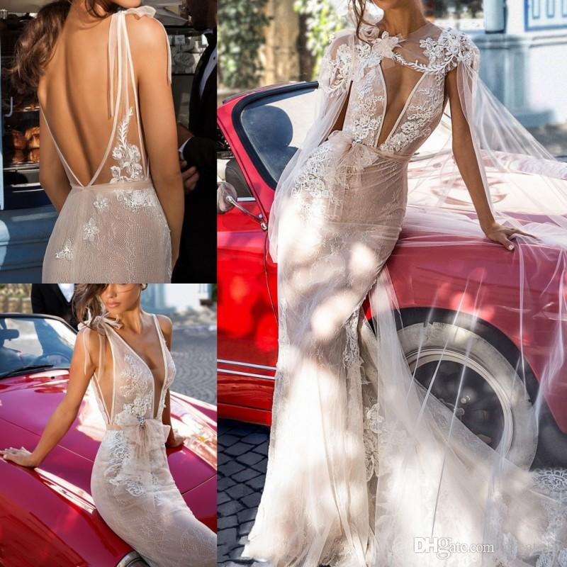 2019 Elihav Sasson Mermaid Wedding Dresses With Wrap Sexy V Neck Lace Backless Beach Bridal Gowns Plus Size Robe De Mariée