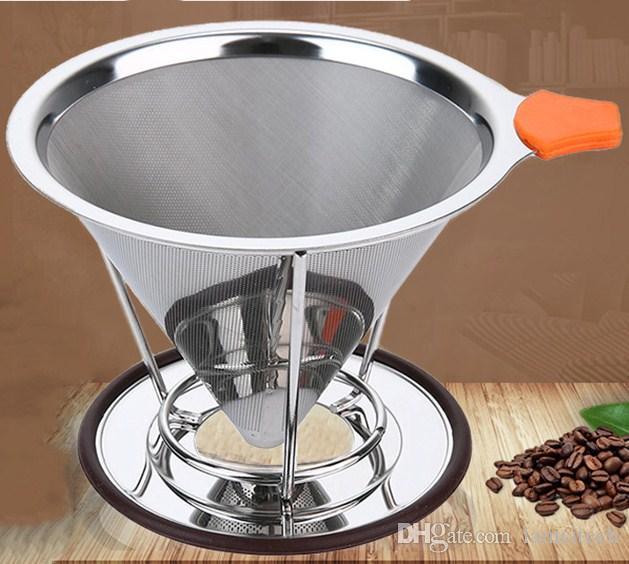 Filtre à eau en acier inoxydable 304 durable filtre à café portable filtre à café écran cafetière pièces entonnoir filtres 95mm Hauteur