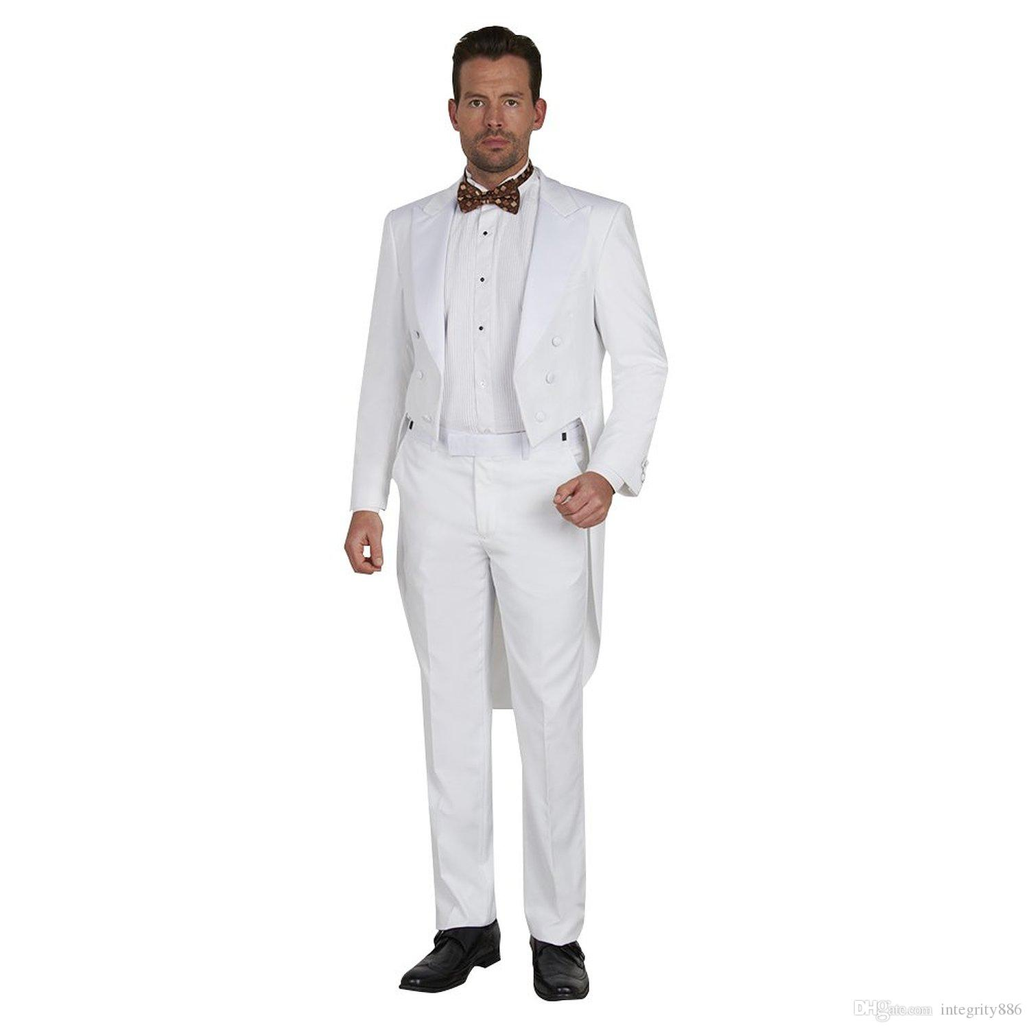 Fashion White Tailcoat Men Wedding Tuxedos Double-Breasted Center Vent Groom Tuxedos Men Formal Dinner Prom Suit(Jacket+Pants+Tie+Girdle)691