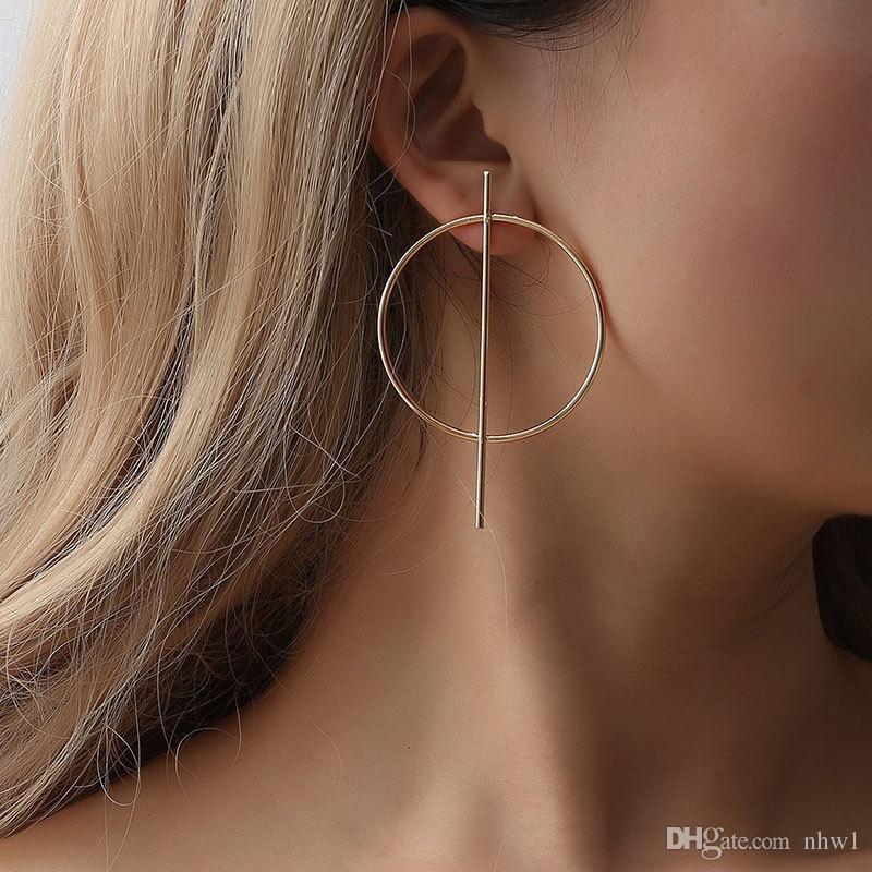 여성 빅 원 피어싱 귀 스터드 패션 쥬얼리 액세서리 선물 패션 실버 골드 컬러 귀걸이