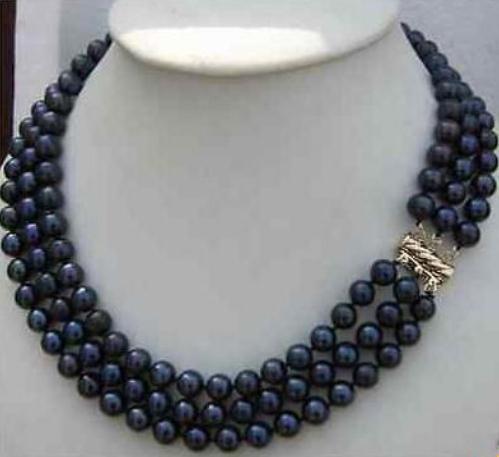Vendita calda tripli fili 8-9mm naturale collana di perle di tahiti nero 18-20 pollici 14 k oro catenina collane di perline