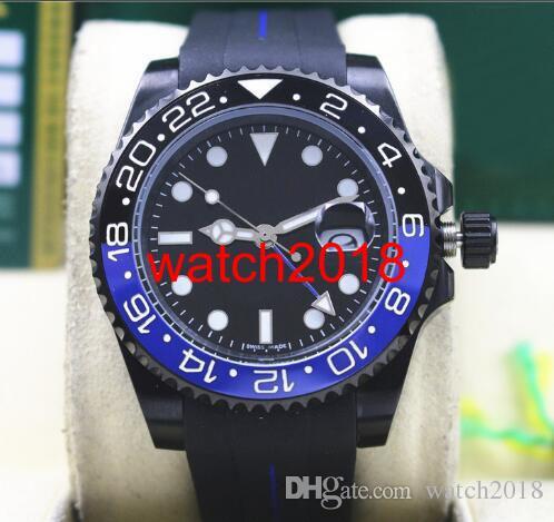 Najwyższej jakości Luksusowy Zegarek II 116710 40mm Ceramiczny Bezel Włókna Batman Czarny Blue Guma Bransoletka Automatyczne Zegarki Mężczyźni Luminous