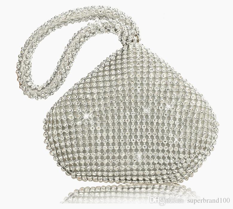 Strass Frauen Clutch Taschen Diamanten Fingerring Damen Vintage Abendtaschen Kristall Hochzeit Braut Handtaschen Geldbörse Taschen Halter