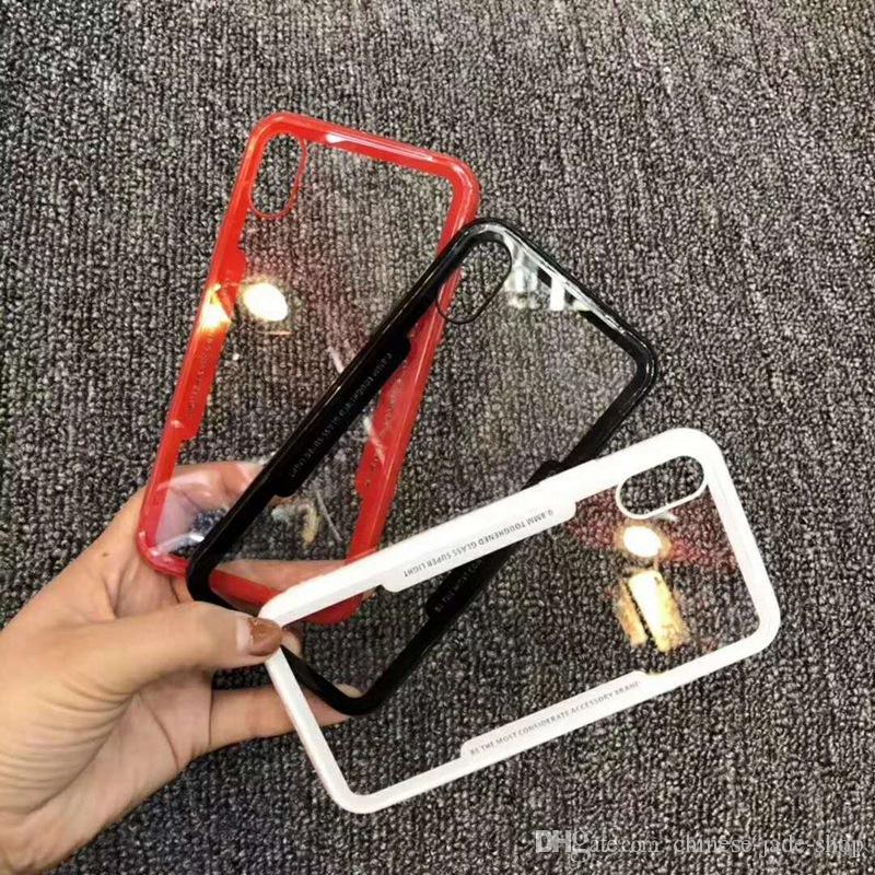 Armatura Custodia PER IPHONE X 5 SE 6 6S PLUS 7 8 PLUS GALAXY S6 S6 EDGE S7 S7 EDGE Paraurti ibrido TPU trasparente PC Acrilico Back Cover 100PCS / LOT