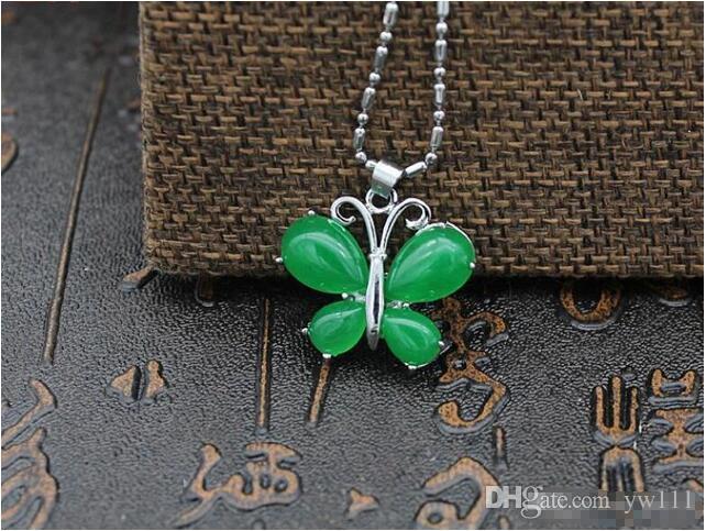Wholesale - Natural Jade Green Malay Jade Butterfly Diamond pendant Emerald Emerald Mosaic Pendant Silver chain