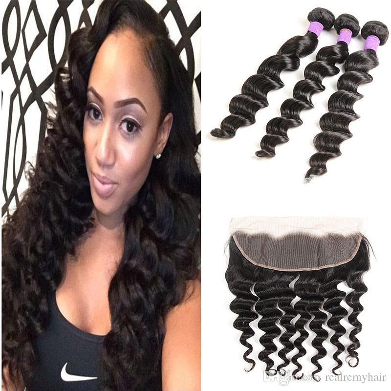 Brazilian Virgin Human Hair Loose Deep With Lace Frontal Closure 3 Bundles With 13x4 Ear to Ear Lace Frontal Closure HC Weaves Closure