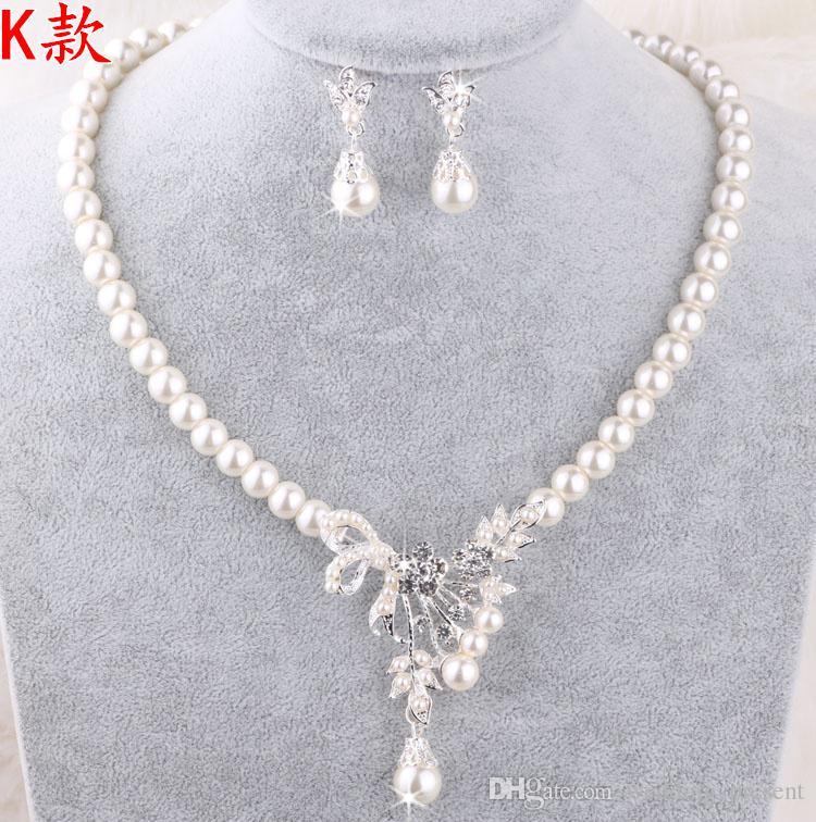 Perle all'ingrosso Collana di gioielli da sposa Set di orecchini con perle finte Prom Party Wedding Crystal Jewellery Accessori da sposa Cheap
