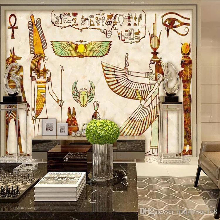 Arkadi 3d European style pharaoh large murals Vintage Egyptian lounge bar TV sofa background living room wallpaper wallpaper
