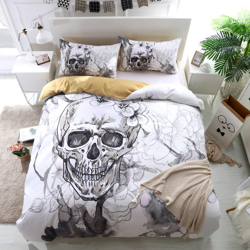 3d Flowers Skull Duvet Cover With Pillowcases Sugar Skull Bedding Set Au Queen King Size Flower Soft Bed Covers