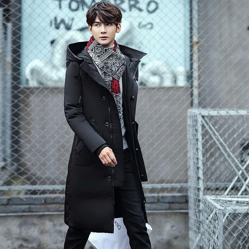 Manteau en duvet de canard en duvet de canard blanc à capuche 80% d'hiver pour hommes 2017 d'hiver manteaux bas manteaux long style fermeture à glissière grande taille M-3XL L18101103