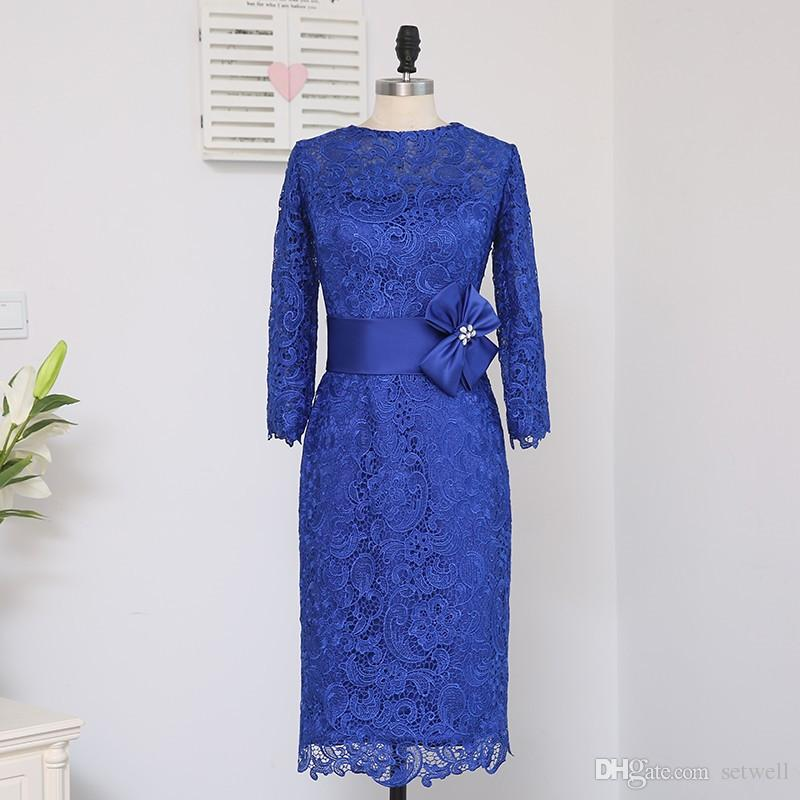 setwell Plus Size Blue 2018 Mother Of The Bride Dresses Sheath Appliques Lace Wedding Party Dress Blue Long Sleeves Mother Dress For Wedding