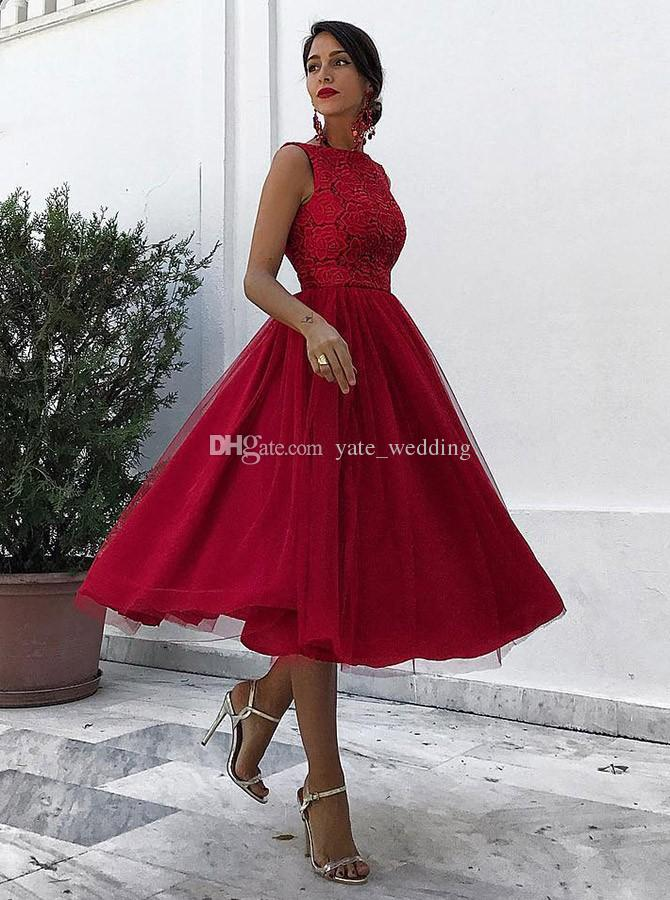 pretty nice best supplier new arrival Dark Red Midi Length Prom Dresses Bateau Neck Sleeveless Lace Tulle Calf  Length Party Dresses Evening Gowns Zipper Up Junior Prom Dress Junior Prom  ...