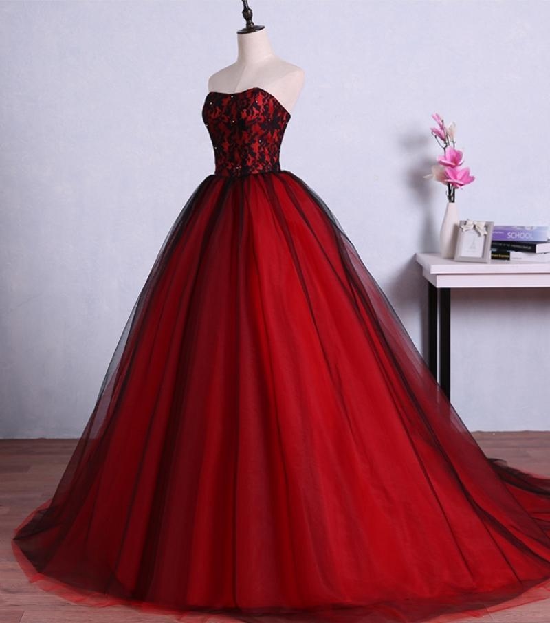 Compre Vestidos De Fiesta Largos Rojos Y Negros Para La Graduación Vestido De Fiesta De Encaje De Tul Vestidos Formales De Noche Vestidos Vestido De