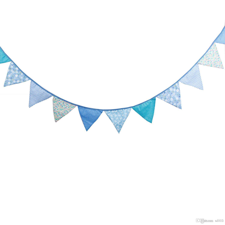 Banderines de algodón de doble cara impresa triángulo forma de la bandera para niños fiesta de cumpleaños colgando banderas decoraciones de la boda 13 5 wfb ZZ