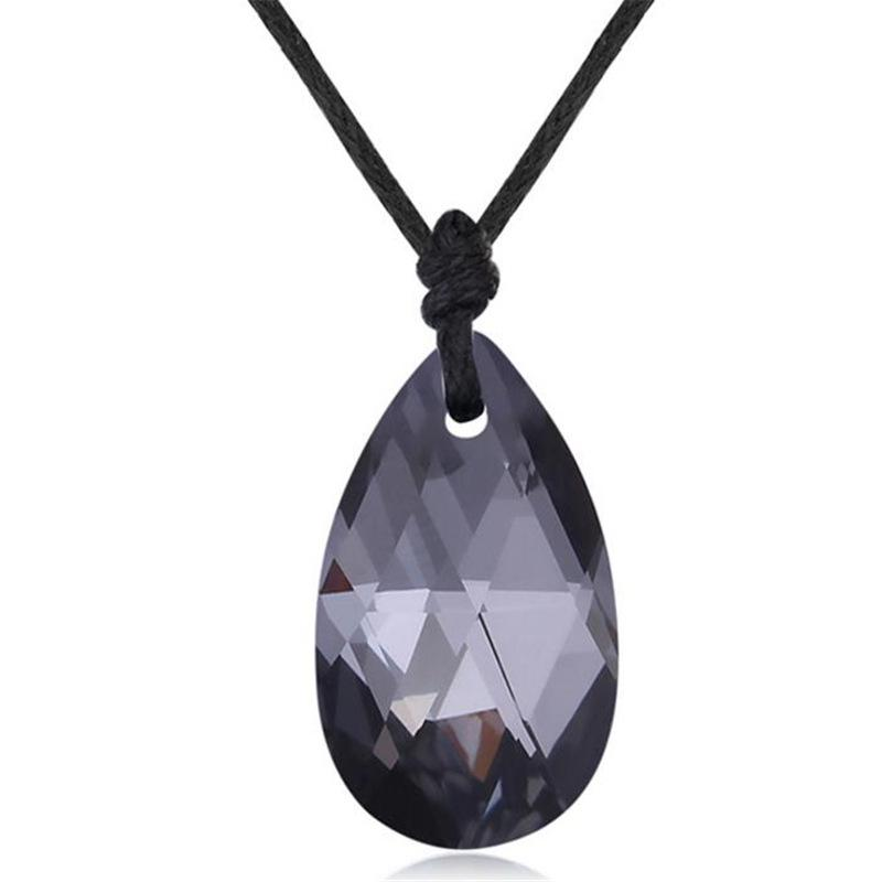 Original Crystal From Swarovski Elements Water Drop Necklaces Pendants With Rope Chain Maxi Long Collier Handmade Gift 28249