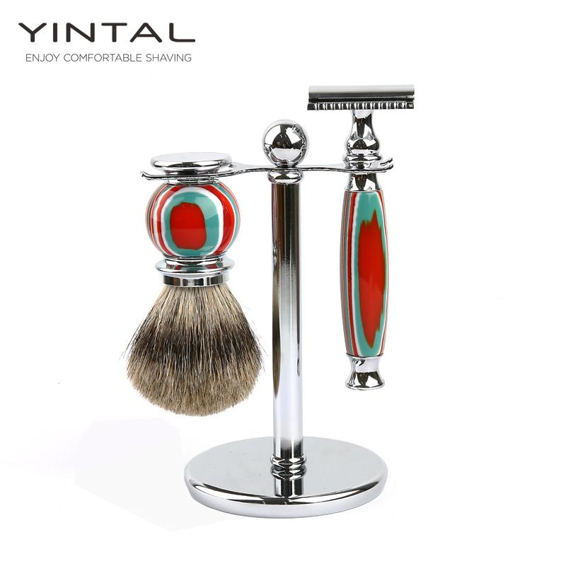 wholesale Classic Dual Edge Safety Razor /Shaving Brush /Shaver Stand Candy Colors Men Shaving Shaving Accessories Colorful
