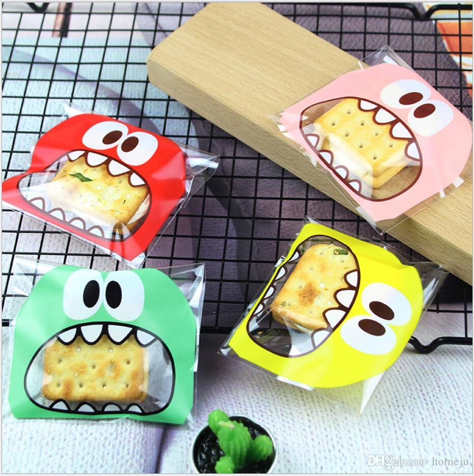100 Pcs/Set Cute Big Teech Mouth Monster Plastic Bag Wedding Birthday Cookie Candy Gift Packaging Bags OPP Self Adhesive Party Favors