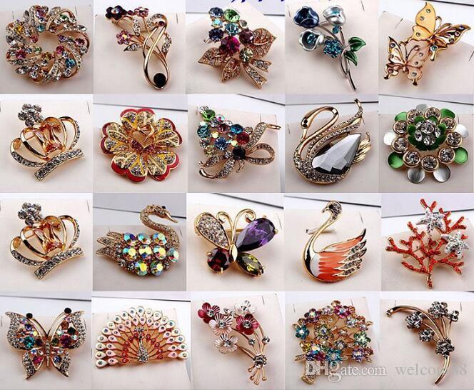 10pcs / lot mezcle estilo moda cristal broches alfileres para joyería artesanía regalo br03