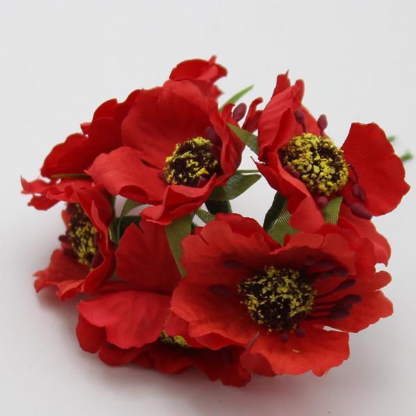 Atacado de alta qualidade Silk Poppies camélia grande 5cm 60pcs / Feito muito Artificial Flores da papoila de milho Mão decoração pequeno casamento