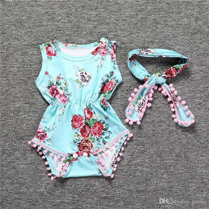 Mono de mameluco floral de las muchachas del bebé Sunsuit + diadema Ropa Conjuntos de ropa para niñas Ropa mujer