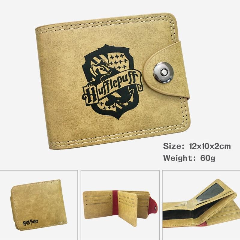 Harry Potter Anime Khaki Leather Wallet Button Design Card Holder Purse for Men Women Money Bag