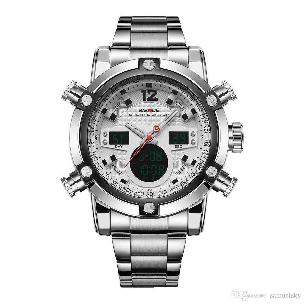 2 часовых пояса открытый многофункциональный спорт мужчины большие часы ЖК-цифровой аналоговый из нержавеющей стали военные часы человек секундомер кварцевые подсветка
