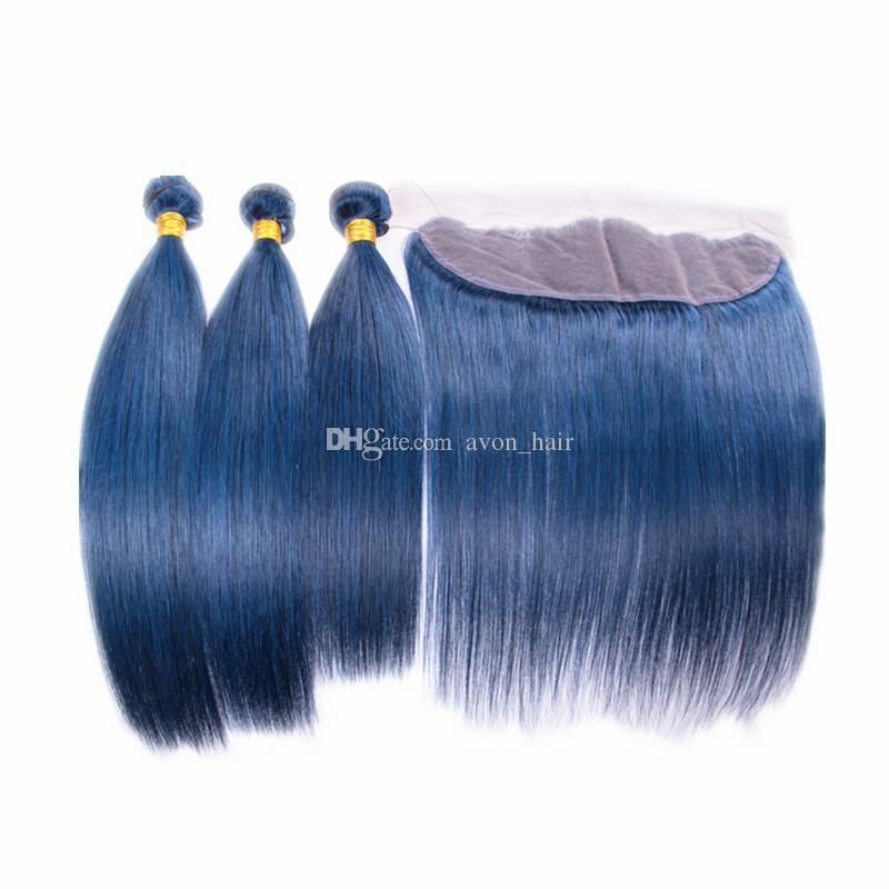 Trama sedoso del pelo humano 3pcs con los paquetes del pelo del color azul puro frontal del cordón con el frontal del cordón del oído a oído