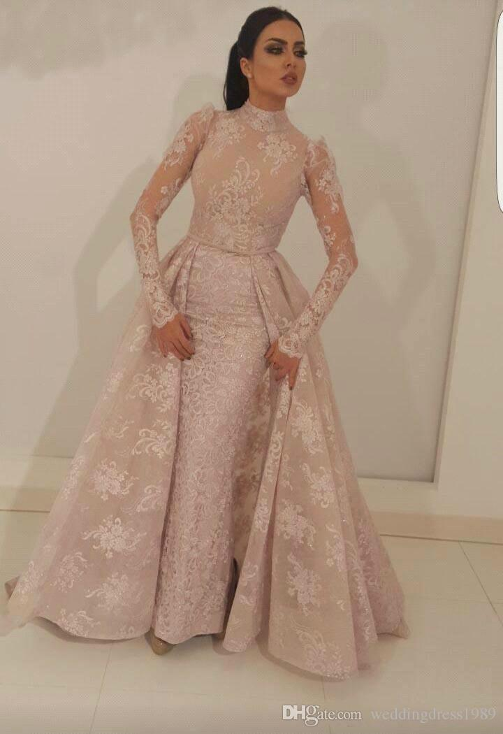 Moda sirena encaje cuello alto vestidos de noche falda larga manga rosa Arabia Saudita fiesta africana vestidos de baile vestido del desfile Robe De Soiree