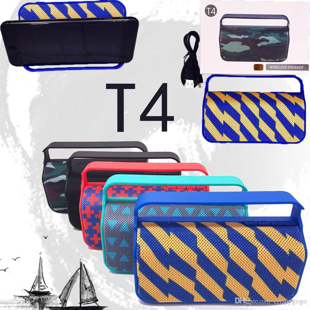 T4 Bluetooth Speaker Fabric Portable Outdoor bluetooth Wireless Subwoofer boombox Speaker with Phone Holder bicycle cheap