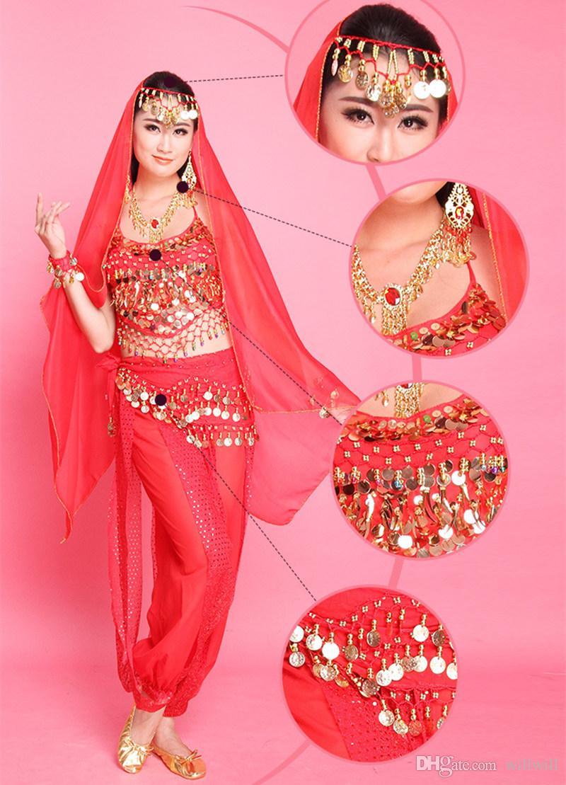 2018 новый 6 цветов танец живота костюм набор женщин производительность носить индийское платье Болливуд костюм высокое качество танец живота набор