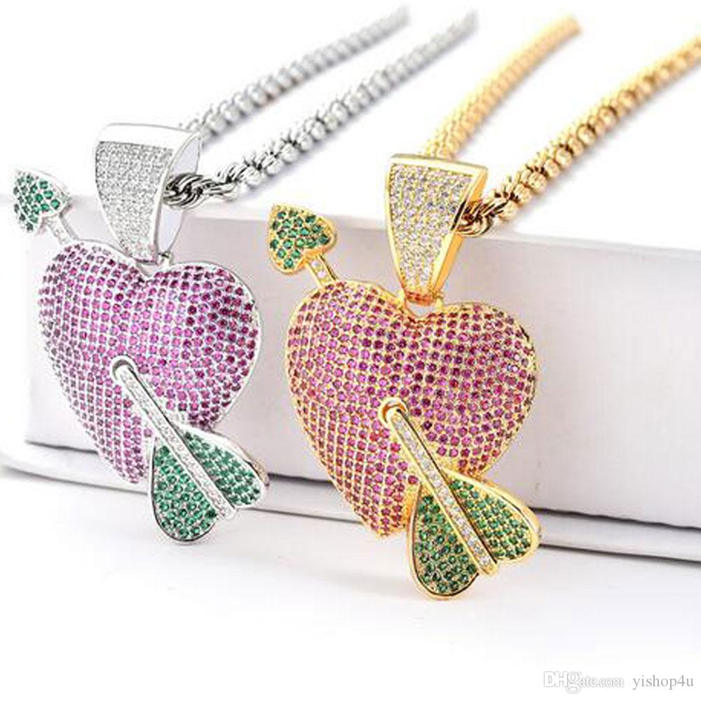 Hip Hop Copper CZ Cubic Zircon Arrow Through Heart Pendant Necklace Gold Silver Fashion Men Women Gift Jewelry