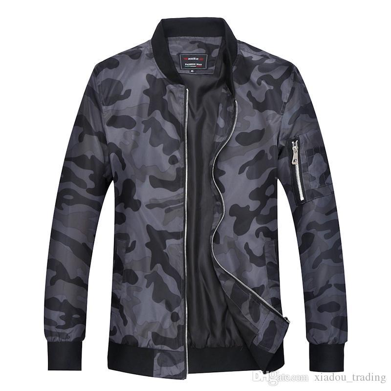 Grande Taille Camouflage Mens Veste Stand Col En Plein Air Voyage Jeunes Uniforme Militaire Manteau Automne Nouveau Camo Casual Jaqueta Taille M-7XL