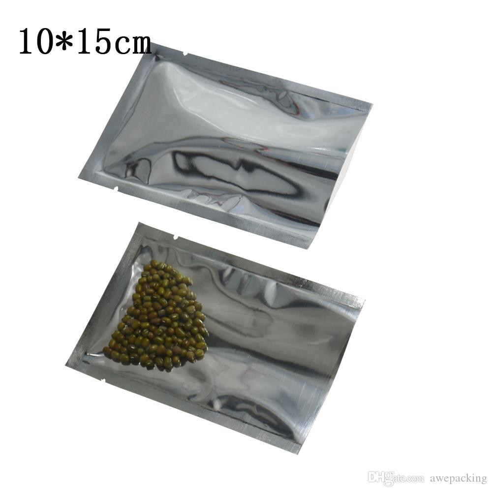 10 * 15 cm (3,9''X5.9 '') Wyczyść Jednoksiężne Silver Aluminium Folia Pakowanie RETALIZACA 200 SZTUK / partia Otwarte górne ogrzewanie Uszczelnienie Przezroczyste Mylar Poly Torby