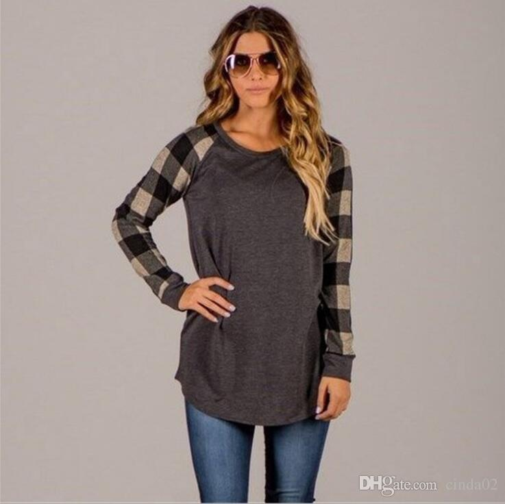 Herbst T-shirts Für Frauen Mit Druck Plaid Hochwertigen Casual Tops Baumwolle Lose Frauenkleidung Langarm T-Shirt