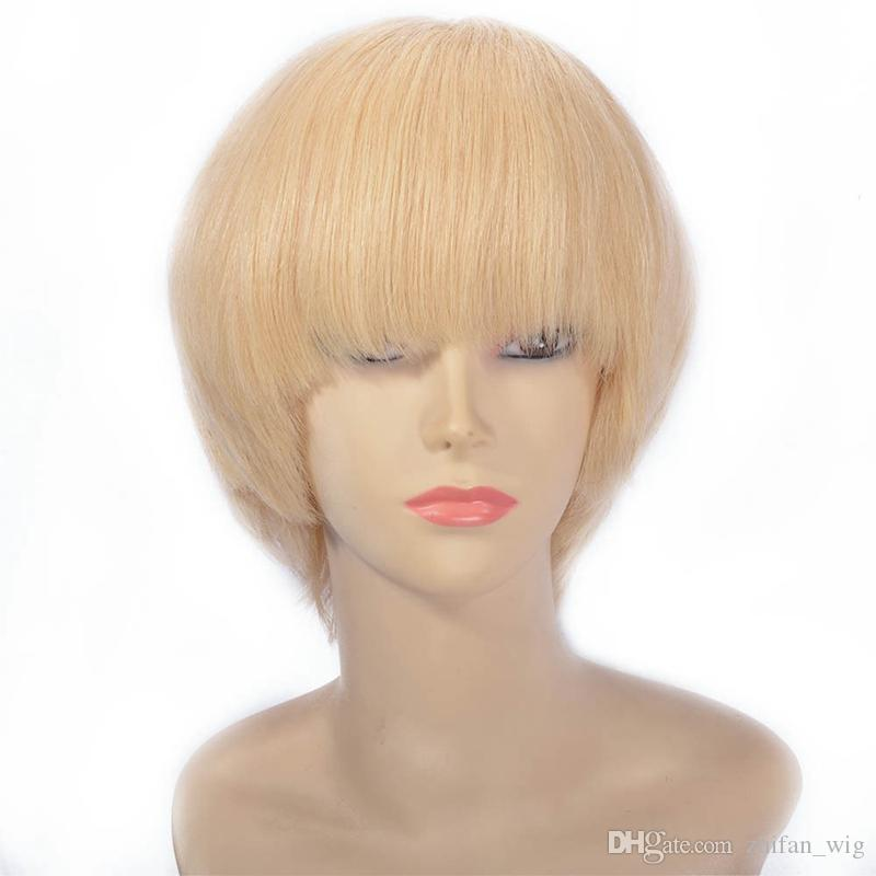 ZhiFan Wholesale 8-16inch Short Bob Front Lace Wigs Blonde Natural Straight Style Burmese Hair Human Hair Wig