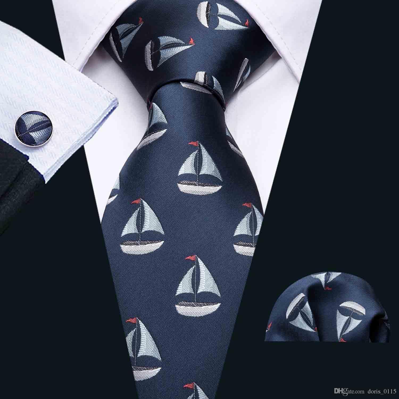Patrón de velero de seda tejida azul oscuro corbata con pañuelo y puños 8.5cm Comercio al por mayor de la boda N-5065