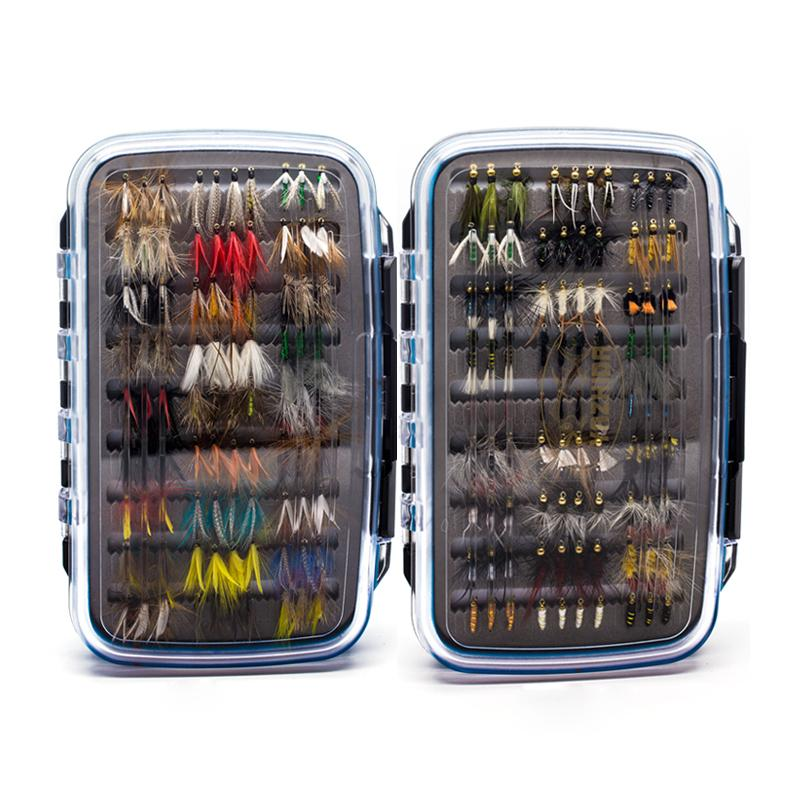 180 Stück Wet Dry Nymph Elritze Fliegenfischen Fliegen Set Fliegenköder Kit Hand gebunden Flies für Trout Pike Äsche Artificial