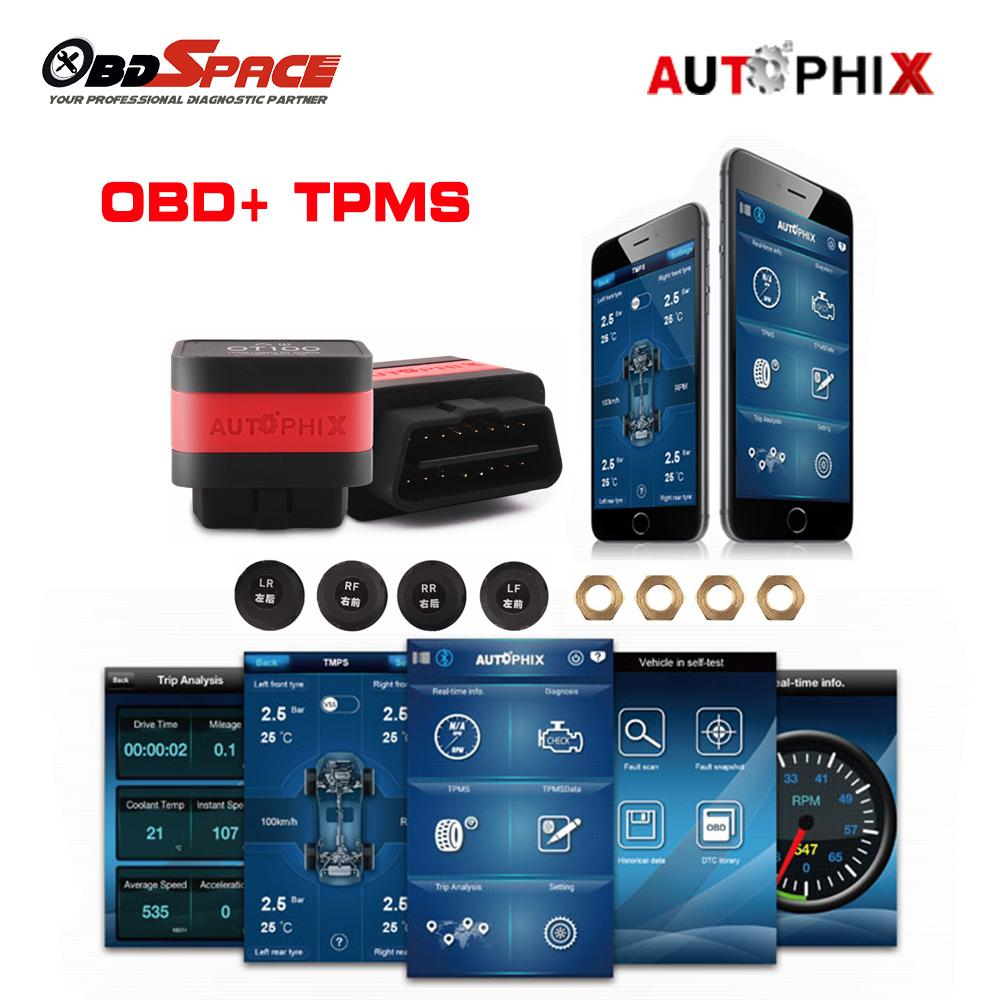 car OT100 OBD2 Scanner+ Tire Pressure Alarm System with 4 TPMS Sensor OBD TPMS 2in 1 for android and IOS Bluetooth Adapter