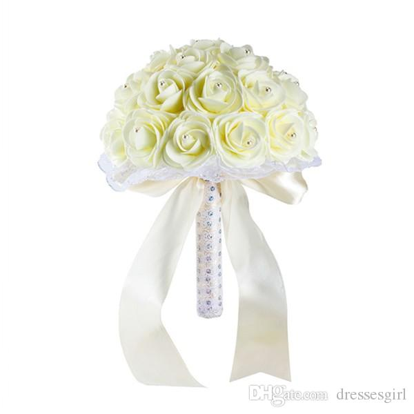 Beautiful Blue White Blue Wedding Flowers Bridal Bouquets Handmade Artificial Rose Bridal Bouquets for Wedding Decoration CPA1592