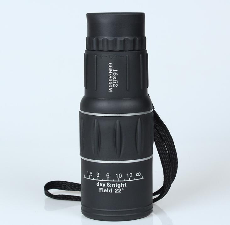 Telescopio monocular Ajuste de enfoque dual Spotting Scope para caza Alcance turístico de alta calidad sin trípode 16X52 HD