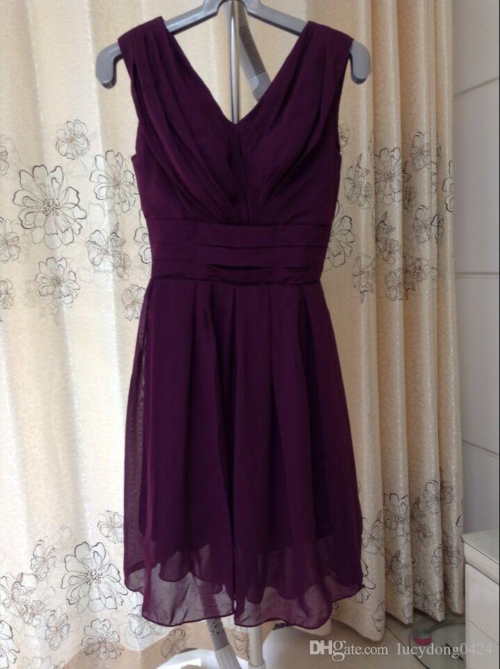 2019 Stokta Üzüm US2 Yeni Ucuz Zarif Özel V Yaka Diz Boyu Gelinlik Modelleri / Düğün Parti Elbiseler LDH220