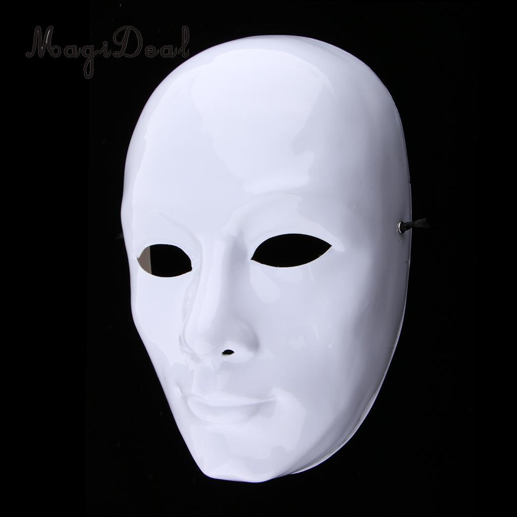 Men White Face Adult Mask Blank Male Mask Halloween Costume Theater Props Mask